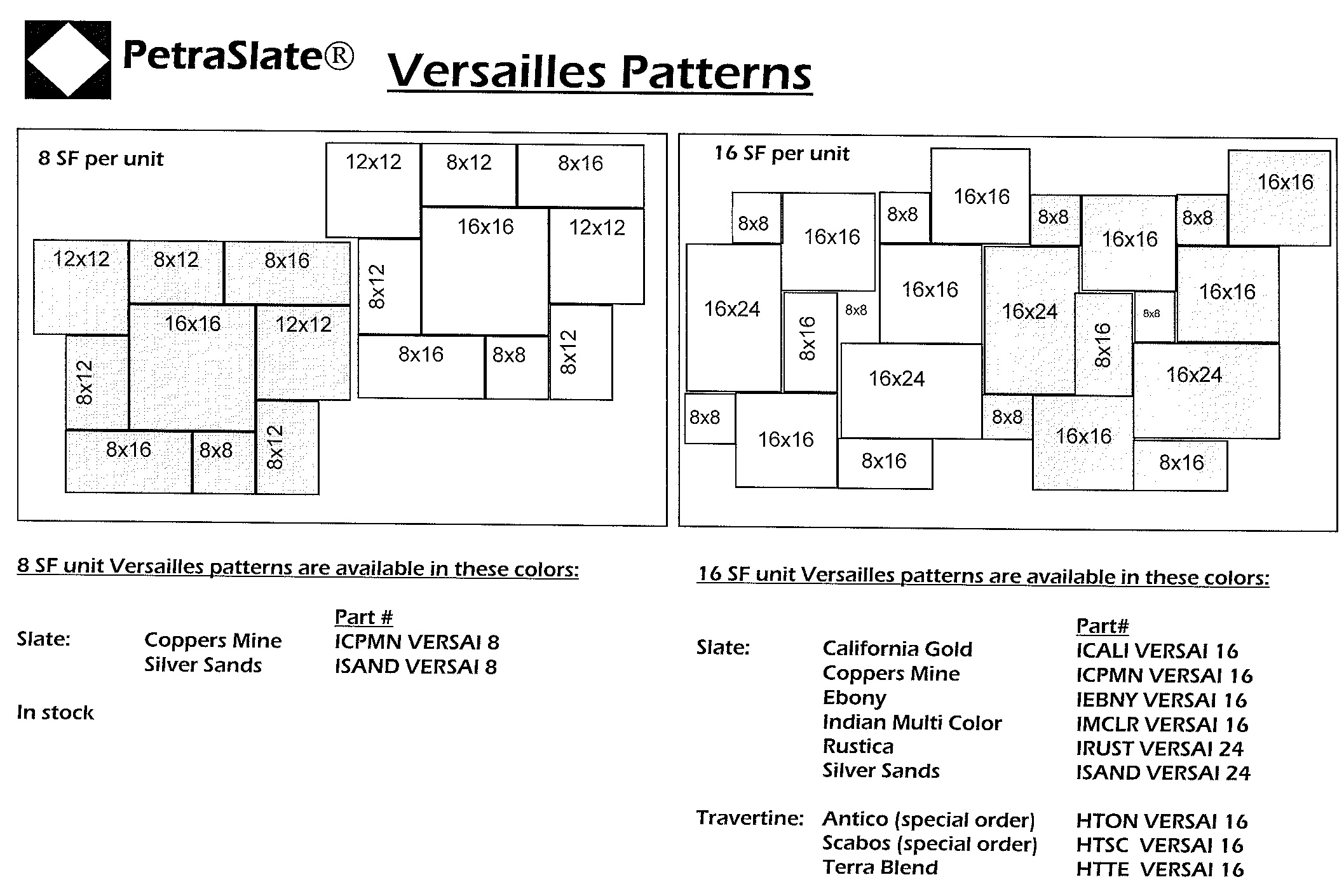 Versailles 8SF & 16SF Patterns