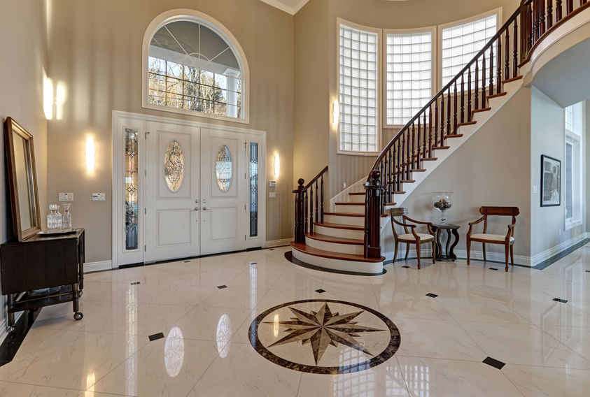 marble tile flooring in an entryway