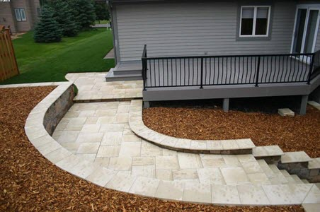 travertine tile walkway